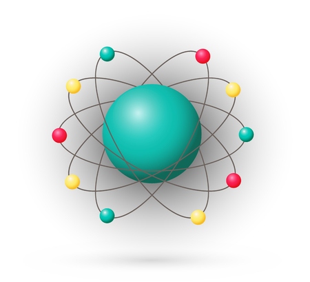 nucleus: Atom, color model with electrons and nucleus