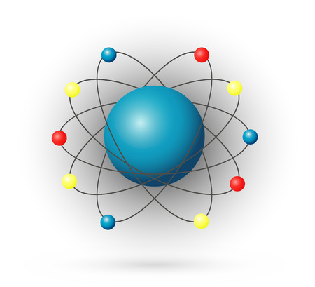 Atom, color model with electrons and nucleus