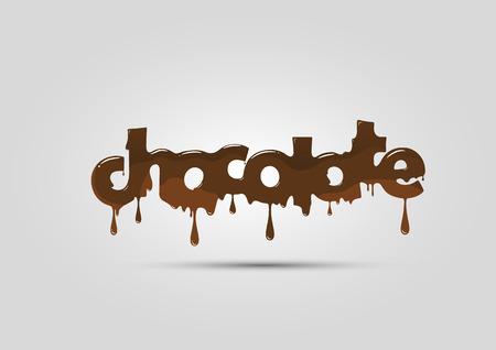 Chocolade logo, woord, het smelten en warm Stock Illustratie