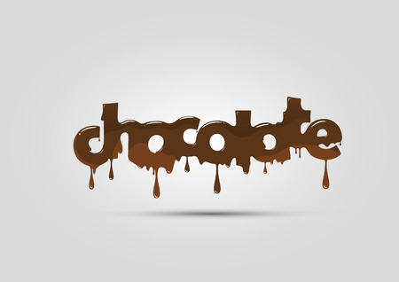 Chocolate logo, word, melting and hot