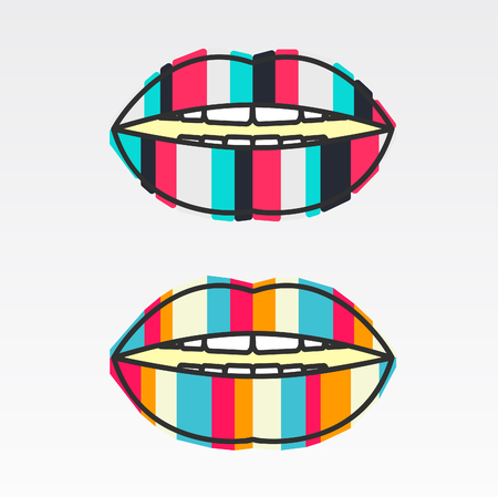 sexy tongue: Logo colorful lips, vertical stripes