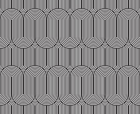 rotund: Vector seamless pattern. Modern stylish texture. Geometric striped ornament. Monochrome linear weaving. Illustration