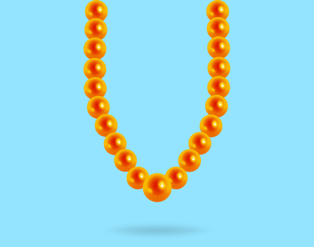 necklet: Precious pearl necklace on a blue background, reflection, lewerly