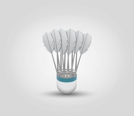 reciprocate: Shuttlecock for badminton on grey background Illustration