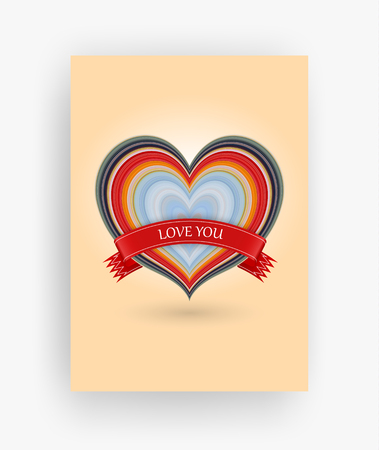 14 february greeting card, Happy Valentines Day, stretched pixels effect, A4 format