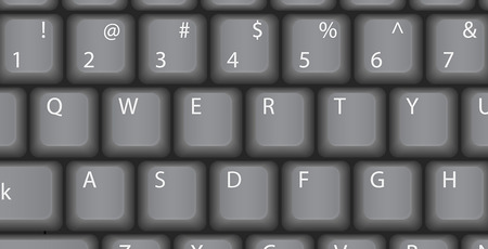 keypad: QWERTY, Vector computer keyboard, Classic style, retro. Illustration