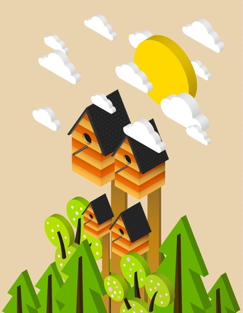 nesting box: Nesting box, isometric illustration on a fresh spring poster Illustration