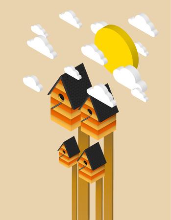 Nesting box, isometric illustration