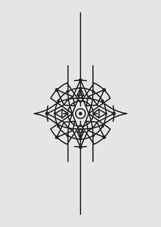 Abstract Geometric Vector Illustration, Mandala, Dreamcatcher - Dark Elements on Grey Background Illustration