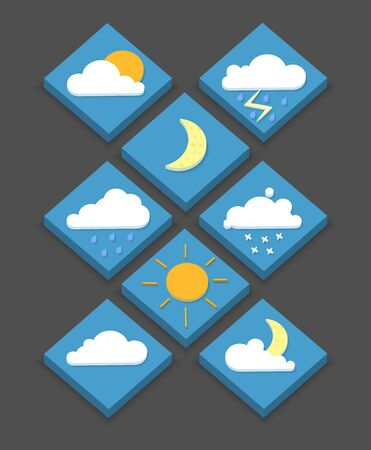 Isometric weather icons, 3D, vector illustration, modern style, eps 10