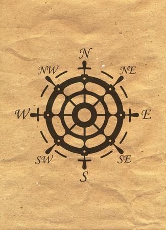 Nautical Logo on kraft paper background. Marine Label, Sea Badge, Anchor Logos Design. Stock Photo