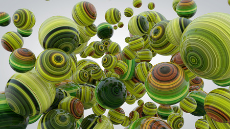 Abstract background with greenery balls, 3D rendering, stretched pixels texture, fresh and lush