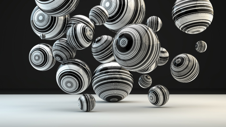 Abstract background with balls, 3D rendering, stretched pixels texture, black and white