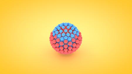 Isometric sphere atom array illustration, 3D rendering Stock Photo