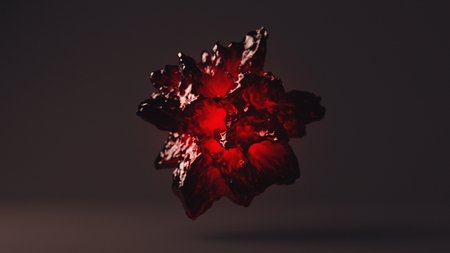 Gemstone With Red Inner Glow, 3D Rendering