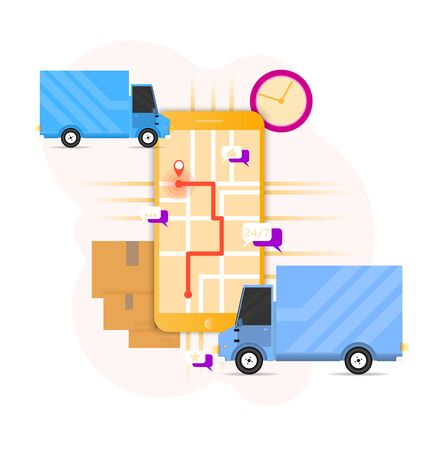 Delivery concept with vans and mobile. Vector illustration for delivery, logistics, comerce, service concept. Иллюстрация