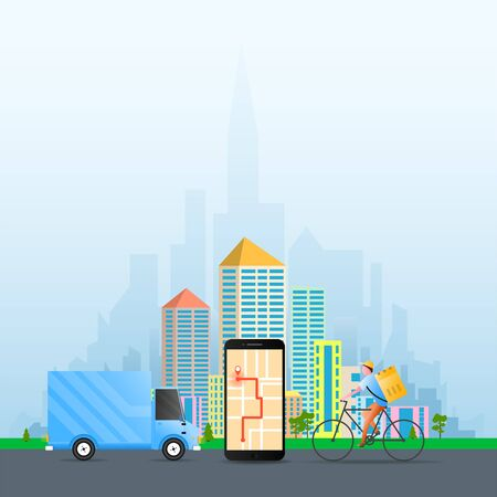 Delivery concept with van, mobile and bicycle delivery man. Vector illustration for delivery, logistics, comerce, service concept. Иллюстрация