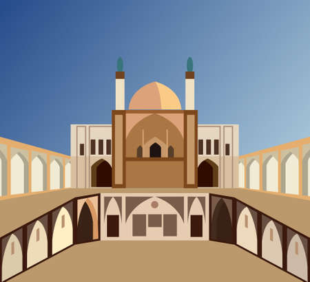 Aga Bozorg Mosque in Iran in the city of Kashan, vector illustration Vecteurs