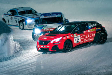 Rally racing on ice and snow during the Andros Trophy in Super Besse.