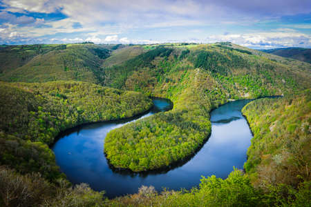 Panoramic view of the meander of Queuille in Auvergne land, France