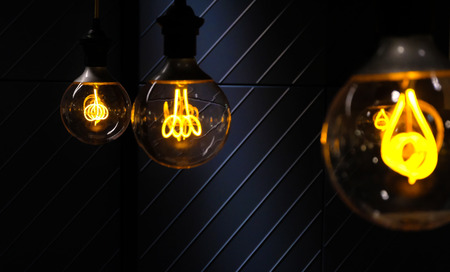 Beautiful retro luxury light lamp decor glowing On a dark cold background