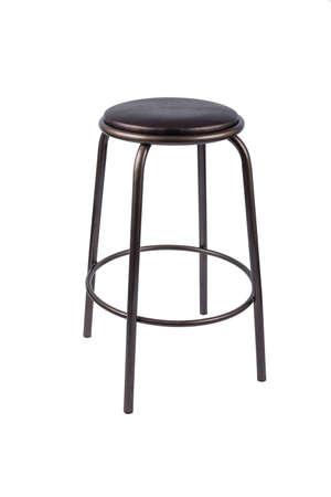 Schwarzer Metallstuhl auf einem weißen Hintergrund Standard-Bild - 91587039