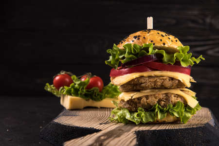 Homemade vegetarian double burger with two cutlets, tomato, cheese, green salad and purple onion on a dark wooden background Zdjęcie Seryjne