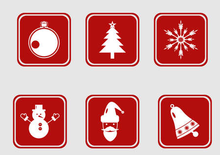 Christmas icons and Happy New Year icons set.