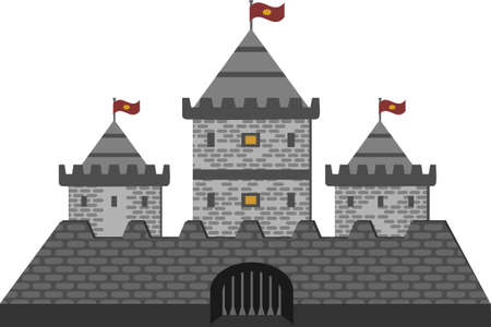 Old fairytale castle with flags. stone fortress. Isolate on white.