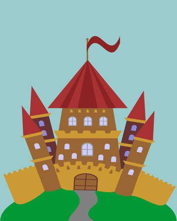 Children Castle. Fairy tale castle. Toy house. 矢量图像