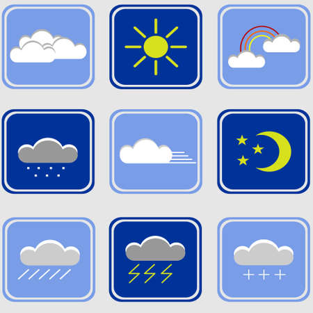Icons for weather concept. Set of vector icons.