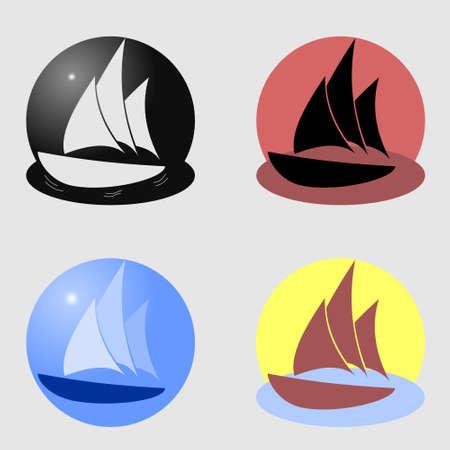 Boat. Ship logo. Set of icons.