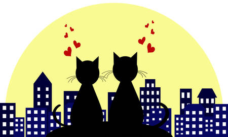 lovers in the background of a night city. Love. loving cats. Vector illustranion concept.