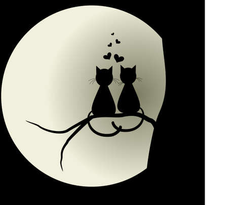 Cats in love with the moon. Lovers. Vector illustration concept. Stock Illustratie