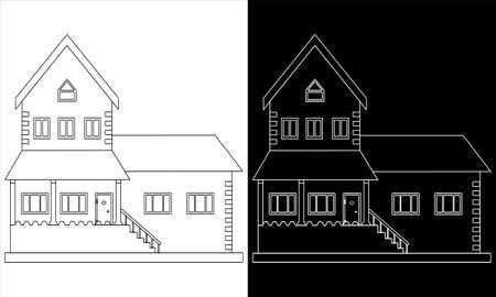 Contours of cottages. Contour house. Vector illustration.