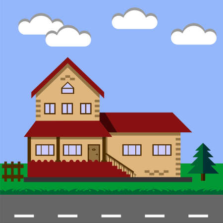 Cottage. House. Vector illustration concept.