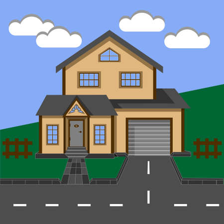 Cottage, house, two-storey house with a garage. 矢量图像