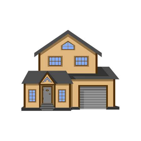Cottage, house vector illustration isolate on white background.