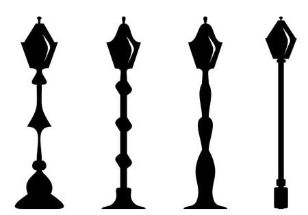 Set of lamp post, silhouette isolate on white background vector illustration concept.