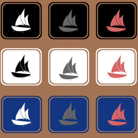 Set of the ships icons, boat icons. 矢量图像
