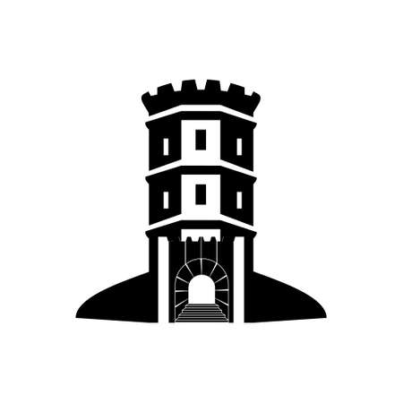 Bastion tower silhouette, medieval fort Citadel isolate on white background.