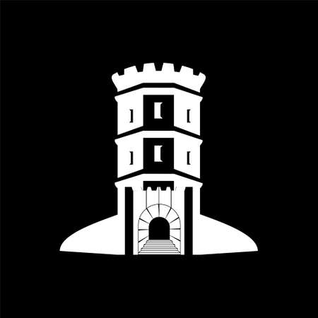 Bastion tower silhouette, medieval fort isolate on black background.