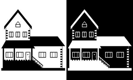 Cottage silhouette, house vector illustration concept black and white drawing.