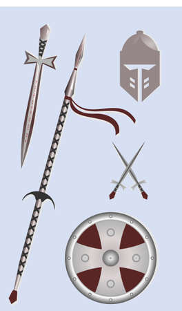Weapons and armor of the middle ages. Set of vector illustration concept.