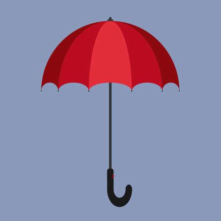 Red umbrella vector illustration concept on a blue background. 矢量图像