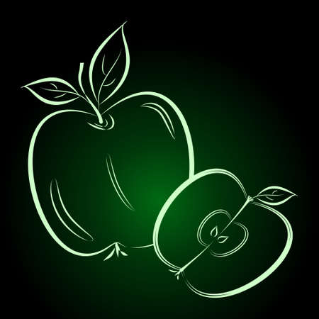 Beautiful silhouette of apples on a white background. Contour drawing. Element for design and decoration. Vector color illustration.