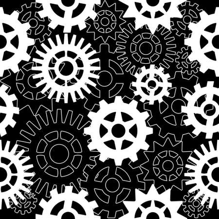 Abstract seamless pattern with gears on a black background