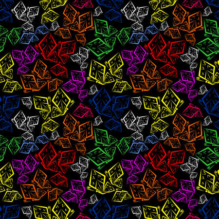 Seamless pattern of colorful butterflies. Color vector illustration.
