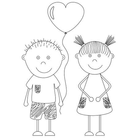 Funny boy and girl with a balloon in the shape of a heart. Theme of St. Valentine's Day. Greeting card for lovers
