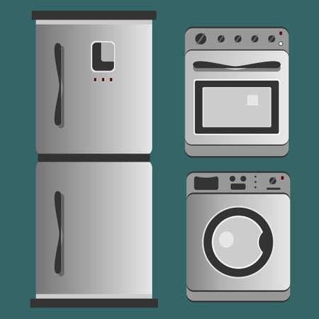 Kitchen appliances. Refrigerator, washing machine, gas stove.